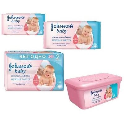 Салфетки Johnson & Johnson Нежная Забота Салфетки (64 шт) johnson s baby влажные салфетки для самых маленьких без отдушки johnson s baby 64 шт