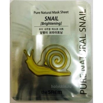 Маска The Saem Pure Natural Mask Sheet Snail Brightening 20 мл недорого