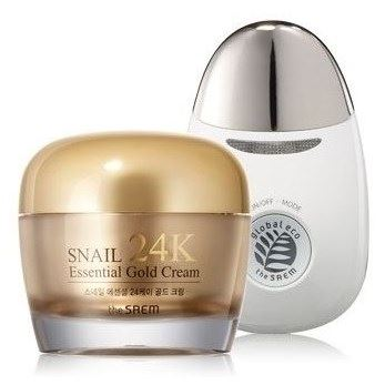Набор The Saem Snail Essential 24K Gold Cream Set (Набор: крем 50 мл + вибромассажер) крем the saem urban eco waratah cream 60 мл