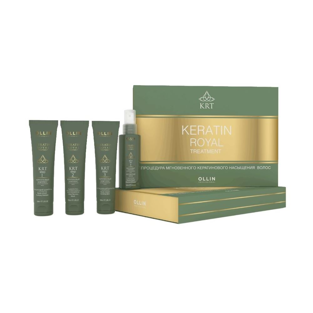 Набор Ollin Professional Keratine Royal Treatment Kit (Набор: шампунь, 100 мл+бальзам, 100 мл+сыворотка, 100 мл+блеск, 100 мл) спрей ollin professional step 4 keratine royal treatment