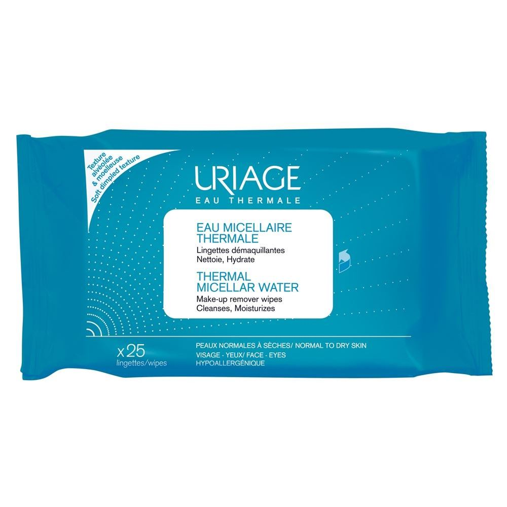 Салфетки Uriage Termal Micellar Water Make-Up Remover Wipes Normal To Dry Skin (25 шт) лосьон ga de soothing eye make up remover