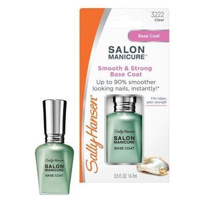 Лак Sally Hansen Salon Manicure Smooth & Strong Base Coat 14 мл лаки для ногтей sally hansen лак для ногтей sally hansen salon manicure тон 554