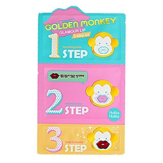 Набор: Маска Holika Holika Golden Monkey Glamour Lip 3-Step Kit (Набор: 3*7 г) недорого