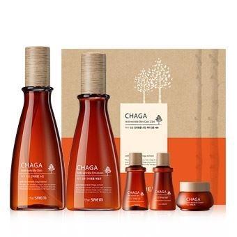 Набор The Saem Chaga Anti-Wrinkle Skin Care 2 Set (Набор: 160 мл+ 140 мл+ 2*20 мл+ 8 мл) home salon skin tender care anti aging