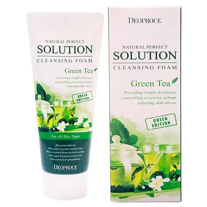 Пенка Deoproce Natural Perfect Solution Cleansing Foam Green Tea пенка the face shop green tea phyto powder cleansing foam объем 170 мл