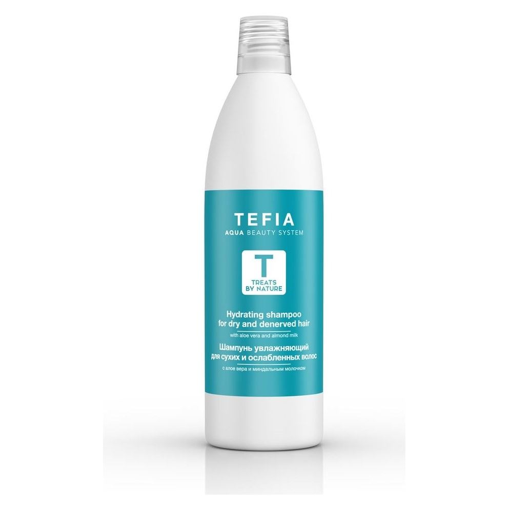 Шампунь Tefia Hydrating Shampoo For Dry And Denerved Hair With Aloe Vera And Almond Milk 1000 мл white cospharm white organia good natural aloe vera hair conditioner кондиционер для волос с алоэ вера 500 гр
