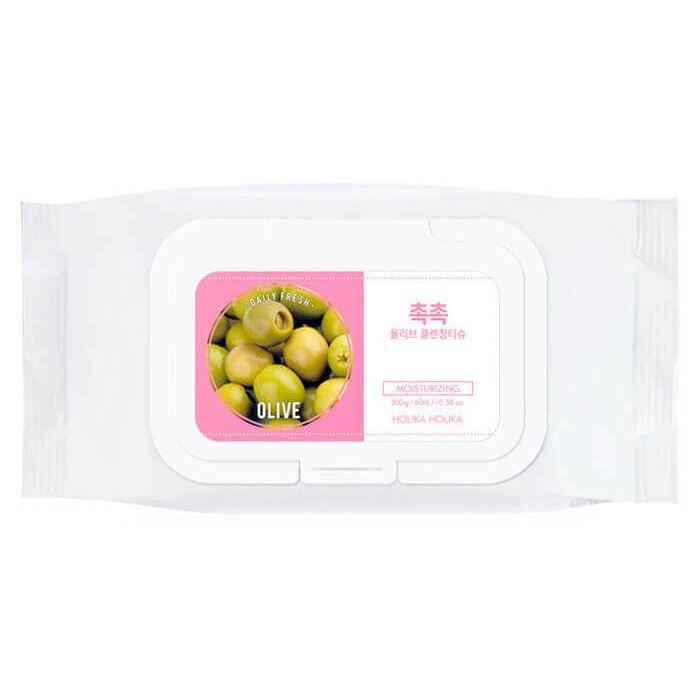 Салфетки Holika Holika Daily Fresh Olive Tissue  (60 шт) салфетки duni салфетки duni комплект 2 шт