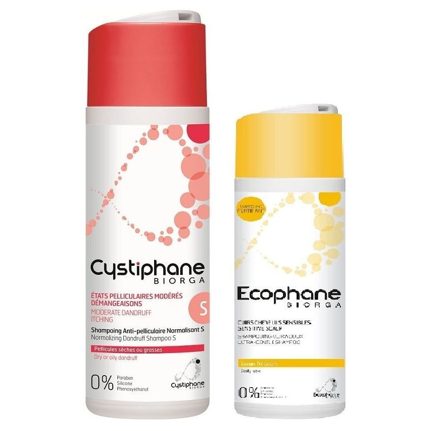 Набор Biorga Cystiphane & Ecophane Shampoo Set (Набор: шампунь п/перхоти, 200 мл + ультрамягкий шампунь, 2 х 200 мл) lg 55lv35a 5b
