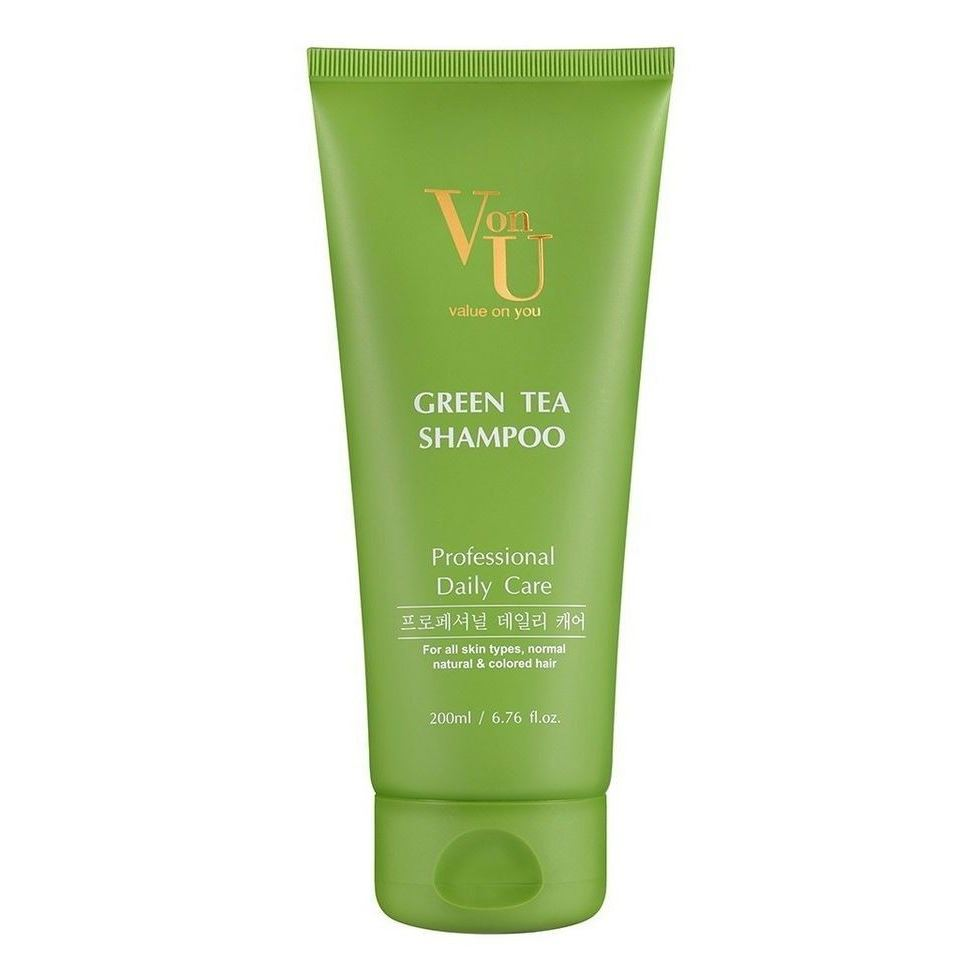 Шампунь Von-U Green Tea Shampoo  200 мл манекен с натуральными волосами