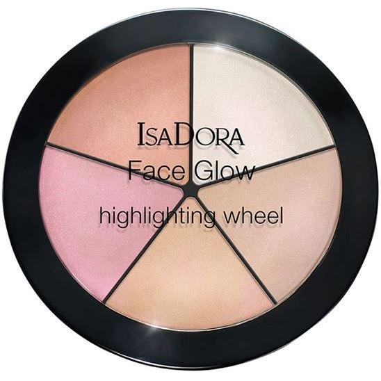 Палетки IsaDora Face Glow Highlighting Wheel (51) isadora палетка хайлайтеров face sculptor strobing 20 18гр