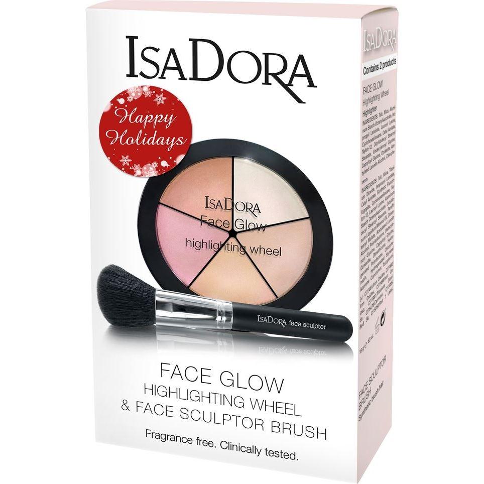 Набор IsaDora Face Glow Kit (Набор: палетка, 18 г + кисть, 1 шт) isadora палетка хайлайтеров face sculptor strobing 20 18гр