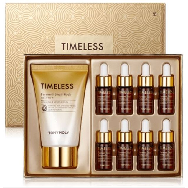 Набор Tony Moly Timeless Ferment Snail Ampoule Set (Набор: сыворотка, 4 мл х 8 шт + маска, 50 мл) маска tony moly timeless ferment snail eye mask 35 г