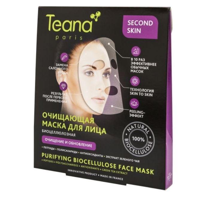 Маска Teana Second Skin Биоцеллюлозная Очищающая маска для лица (1 шт) l occitane мгновенная очищающая маска для лица пион