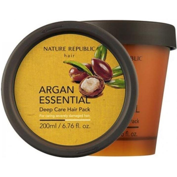 Маска Nature Republic Argan Essential Deep Care Hair Pack 200 мл набор миниатюр для восстановления поврежденных волос с маслом арганы 15 15мл