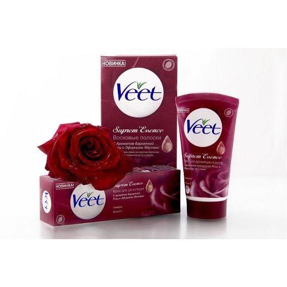 Крем Veet Крем-депилятор Бархатная Роза veet восковые полоски с ароматом бархатной розы и эфирными маслами 10 шт 2 салфетки